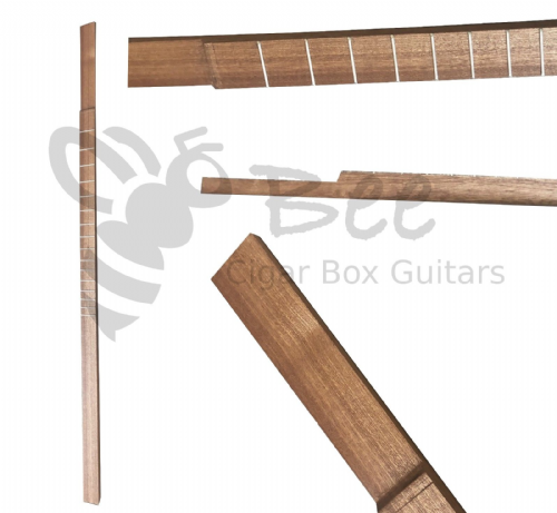 Cigar Box Guitar Neck Fretted Shaped Sapele 25.5 inch scale